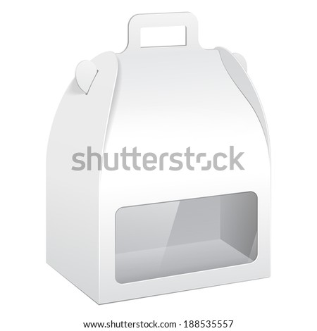 White Cardboard Carry Box Packaging For Food, Gift Or Other Products With Window. On White Background Isolated. Ready For Your Design. Product Packing Vector EPS10 - stock vector