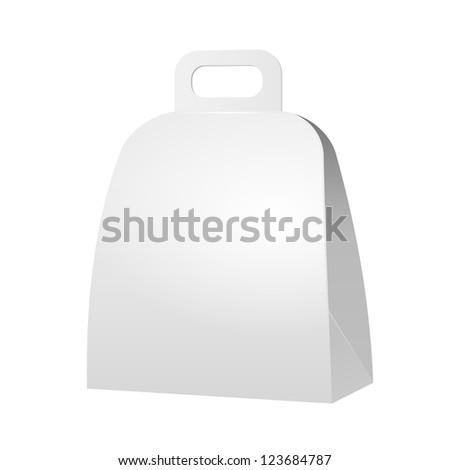 White Cardboard Carton Gift Box. Illustration Isolated On White Background. Vector EPS10 - stock vector