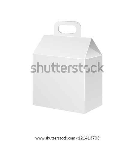 White Cardboard Carton Product Gift Box With Handle. Illustration Isolated On White Background. Vector EPS10 - stock vector