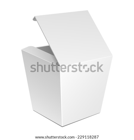 White Cardboard Fast Food Box, Packaging For Lunch, Chinese Food. On White Background Isolated. Ready For Your Design. Product Packing Vector EPS10 - stock vector