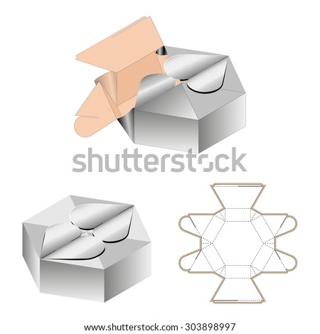 White Cardboard Heart Shaped Opening Carry Box Bag Packaging, Isolated On White Background. Die-stamping, Ready For Your Design, No Glue, Do It Yourself - stock vector