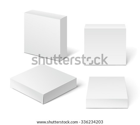 White Cardboard Package Box. Illustration Isolated On White Background.  - stock vector