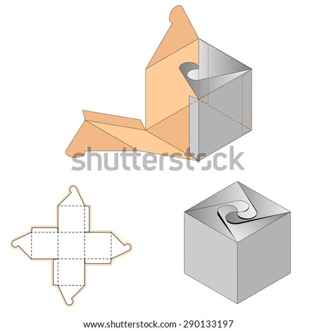 White Cardboard Spiral Opening Carry Box Bag Packaging, Isolated On White Background. Die-stamping, Ready For Your Design - stock vector