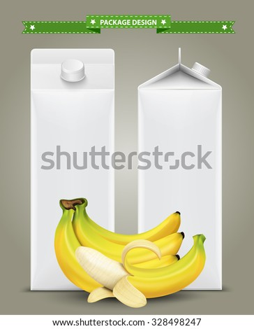 White carton boxes, ideal for fruit juice. Can drawn with mesh tool. Fully adjustable & scalable. packages design - stock vector