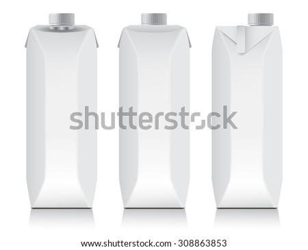 White carton package template for juice or dairy product : Vector Illustration - stock vector