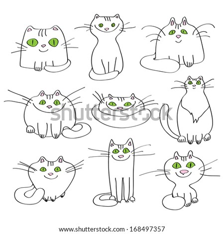 White cats. Set of vector. - stock vector
