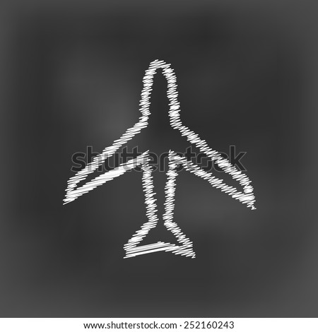 white chalk airplane icon on black board background(vector) - stock vector