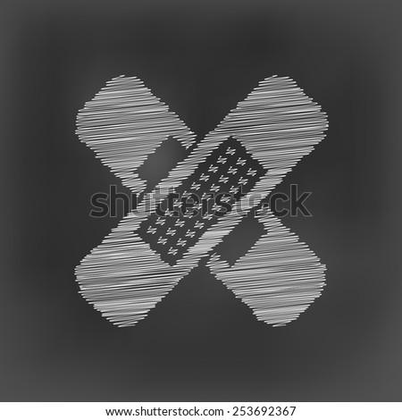 white chalk cross plaster icon on black board background(vector) - stock vector