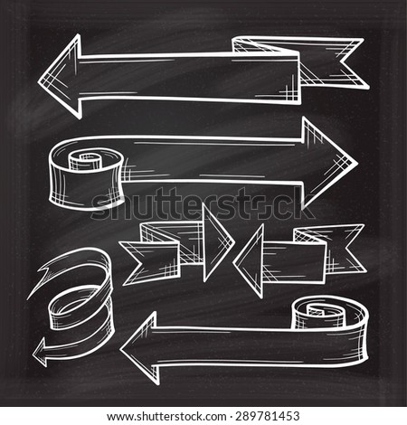 White chalk vector sketches of twisted arrows - stock vector