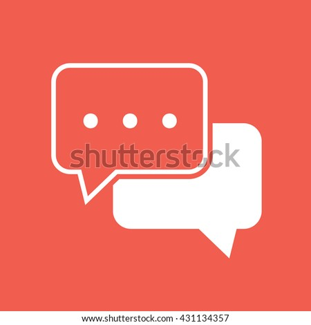White chat icon vector - stock vector