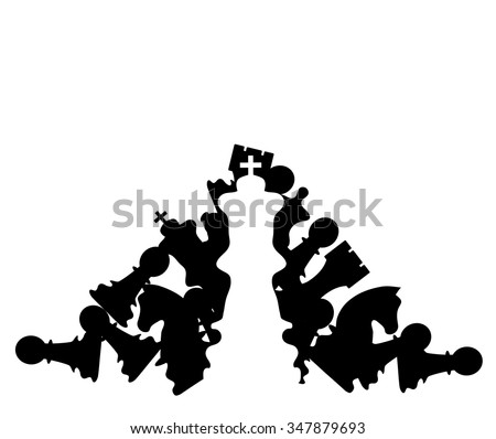 White chess king figure in front of defeated black figures as concept for victory. Vector illustration - stock vector