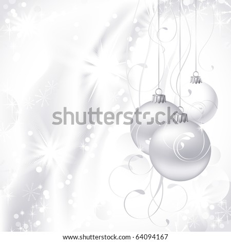 white Christmas backdrop with three  balls - stock vector