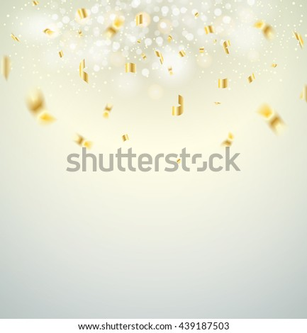 White christmas background. Vector illustration. Golden Holiday Abstract Glitter Defocused Background With Blinking Stars. Blurred Bokeh - stock vector
