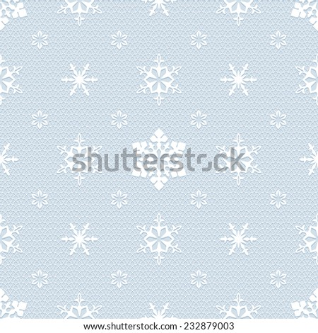 White christmas mesh lace seamless pattern with openwork snowflakes - stock vector