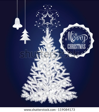 White christmas tree - stock vector