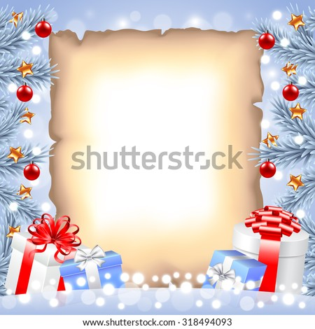 White Christmas tree branches, paper and gift boxes realistic vector - stock vector