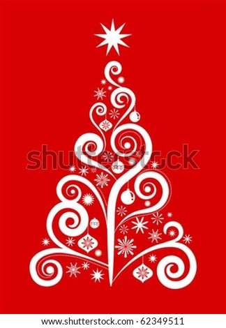 White Christmas tree on red background - stock vector