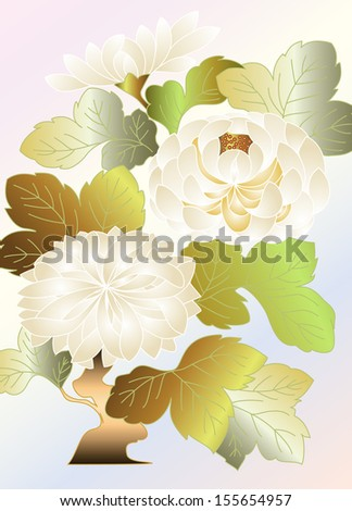 white chrysanthemums on a pale background, embroidery type pattern in the Japanese tradition - stock vector