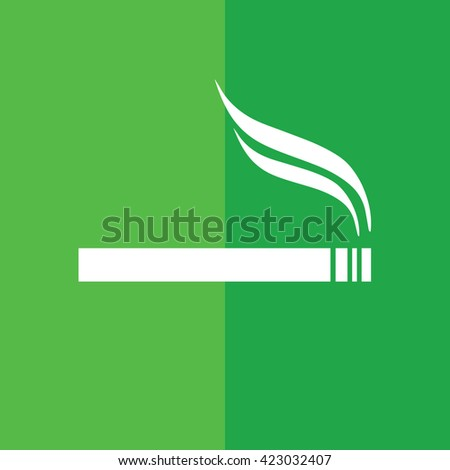 White cigarette vector icon. Allowed smoking sign. Green background - stock vector