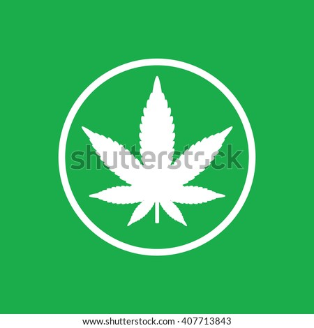 White circle marijuana leaf vector icon. Green background - stock vector