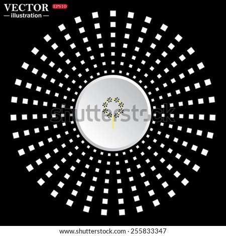 White circle on a black background. icon,  Children's toy wind mill, turntables, pinwheel wind vane, vector illustration, EPS 10 - stock vector