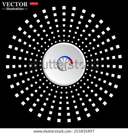 White circle on a black background.  metal volume control, red, blue, light, vector illustration, EPS 10 - stock vector