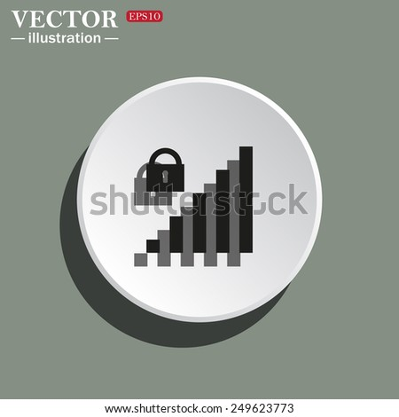 White circle on a green background with shadow. signal strength indicator, closed access , vector illustration, EPS 10 - stock vector