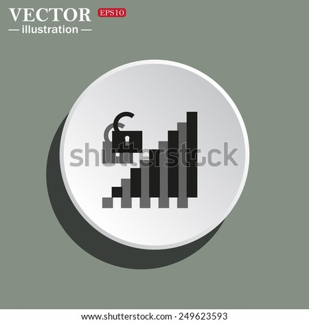 White circle on a green background with shadow. signal strength indicator, open access , vector illustration, EPS 10 - stock vector