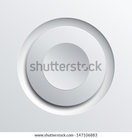 White circle plastic button background, vector illustration. - stock vector