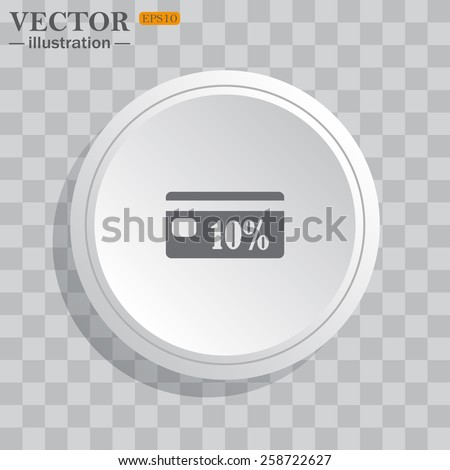 White circle, white button on a gray background with shadow. Grey icon on white.  Discount label, vector illustration, EPS 10 - stock vector