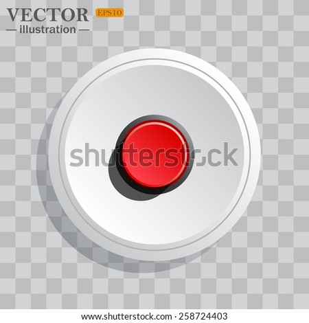 White circle, white button on a gray background with shadow.  icon on white.  Red button start, stop. Vector illustration, EPS 10 - stock vector