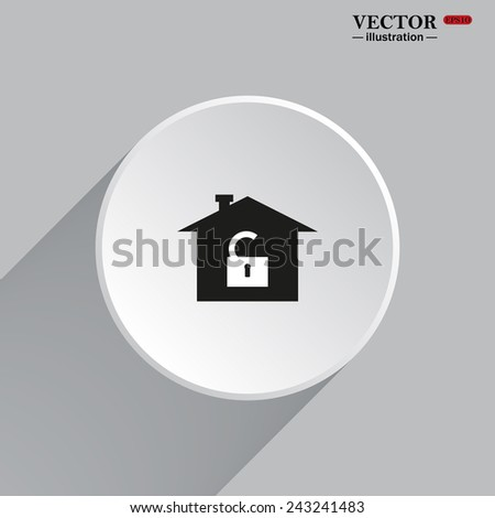 White circle with a shadow. House, access is open, unlocked, gray button with a red stroke, vector illustration, EPS 10 - stock vector