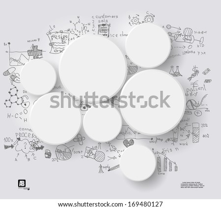 White circles on gray background - stock vector