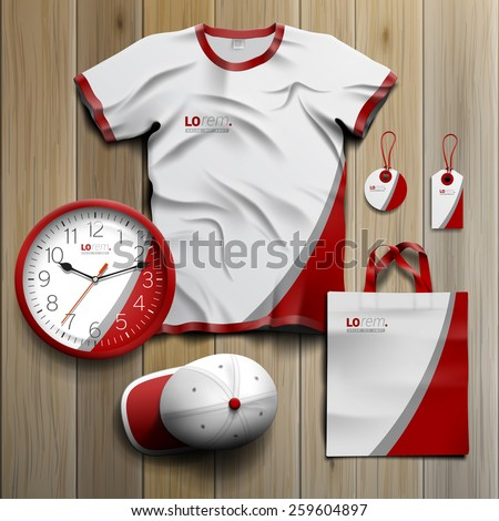 White classic promotional souvenirs design for corporate identity with red and gray lines. Stationery set - stock vector