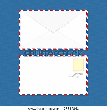 White Clean Air-mail Envelopes Vector  - stock vector