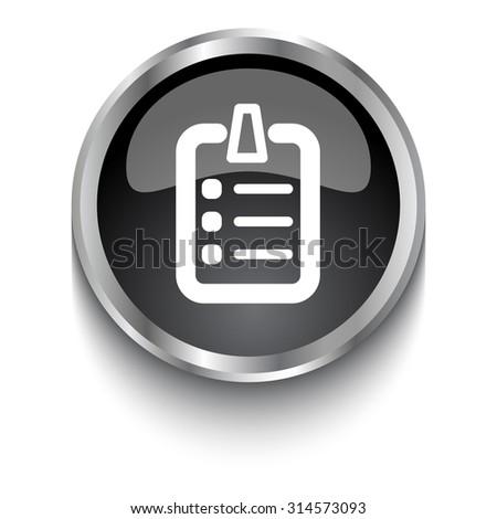 White Clipboard symbol on black glossy web button - stock vector