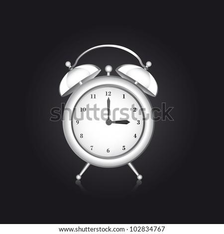 white clock alarm over black background. vector illustration - stock vector