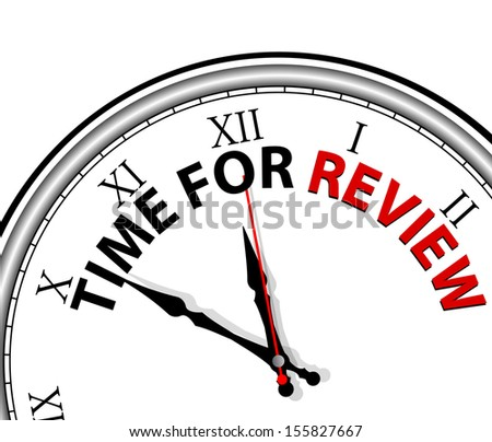 White clock with words Time for Review on its face  - stock vector