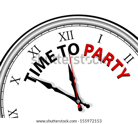White clock with words Time to Party on its face  - stock vector