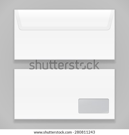 White Closed Blank Envelope Isolated On Gray Background.  Illustration Isolated On Gray Background. Mock Up Template Ready For Your Design. Vector EPS10 - stock vector