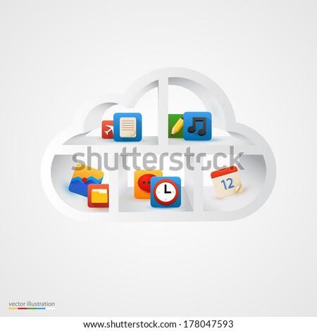 White cloud database shelf. Vector illustration - stock vector