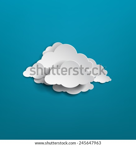 white cloud on blue background. vector illustration - stock vector