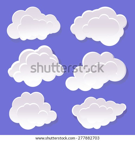 White clouds on a blue background. - stock vector
