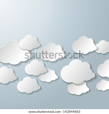 White clouds on the grey background. Eps 10 vector file. - stock vector