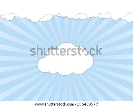 White clouds over blue sky. Vector illustration - stock vector