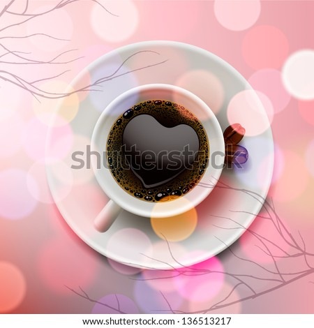 White coffee cup with heart shape made of froth on pink blur background, vector illustration. - stock vector