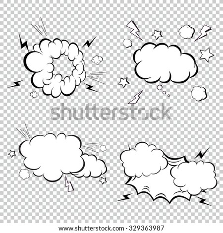White color comic explosion collection. Set for toys, comics and books. - stock vector