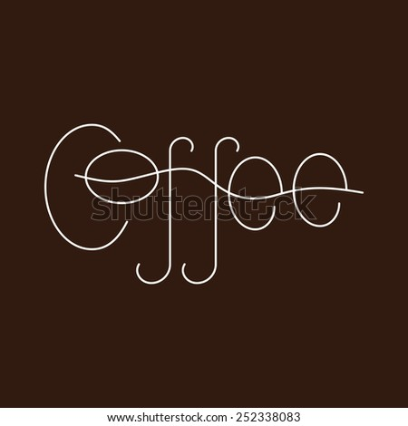 White colored lettering coffee isolated on brown background. Logo template, design element - stock vector