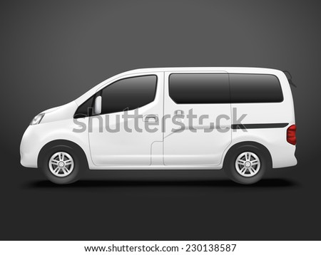 white commercial van isolated on black background - stock vector