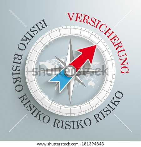 White compass on the grey background. German text Risiko and Versicherung, translate Risk and Insurance. Eps 10 vector file. - stock vector